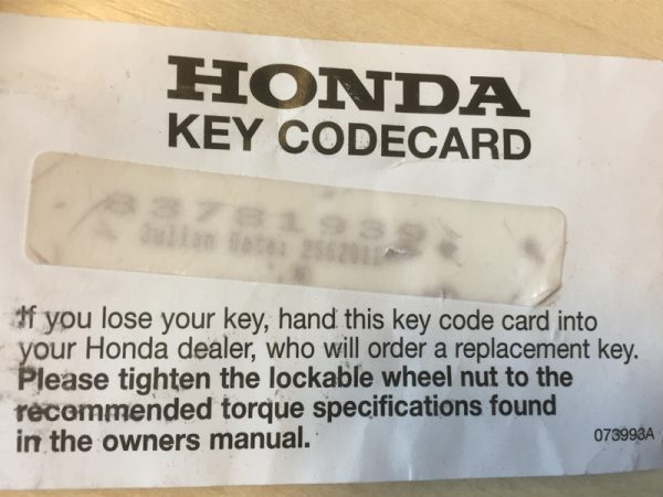 Genuine Honda Locking Wheel Nut Key (Key Code Required)