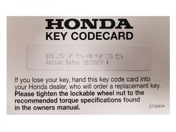 Genuine Honda Locking Wheel Nut Key (key Code Required)