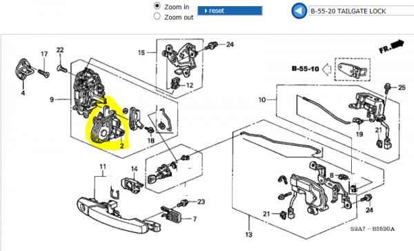 Genuine Honda CR-V Rear Tailgate Lock Actuator 2002-2006