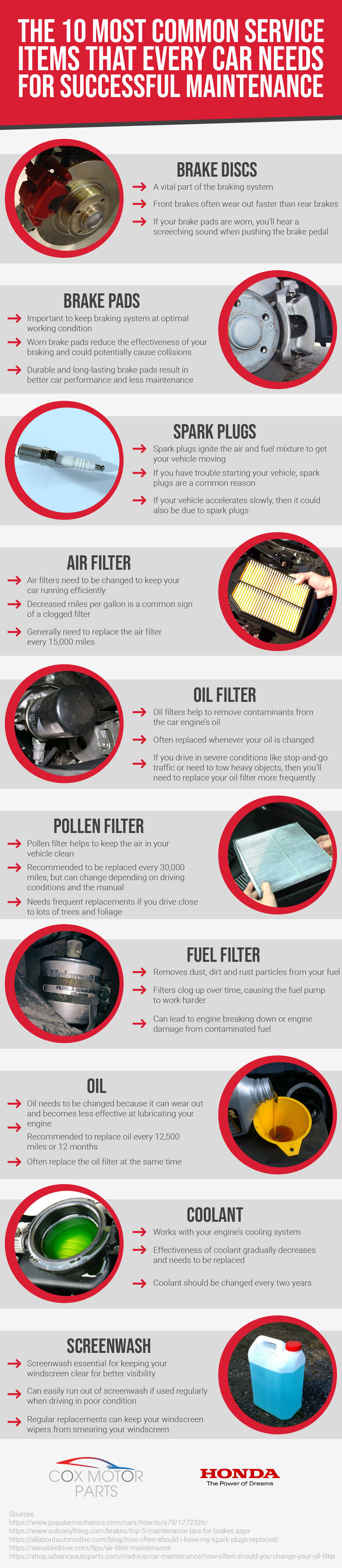 Top 10 Honda Service Items Infographic