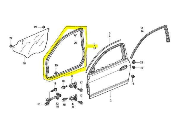 Genuine Honda Integra DC5 Right Side Door Seal/Weatherstrip