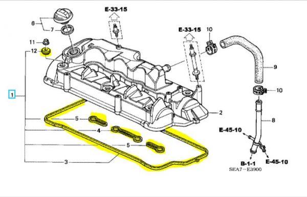 Genuine Honda Accord 2.2 Diesel Rocker Cover Gasket Set 2004-2005
