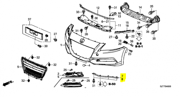 Genuine Honda Cr-z Right Front Air Spoiler 2010-2015