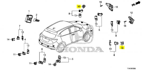 Genuine Honda Hr-v Front Corner Parking Sensor Retainer 2015 Onwards