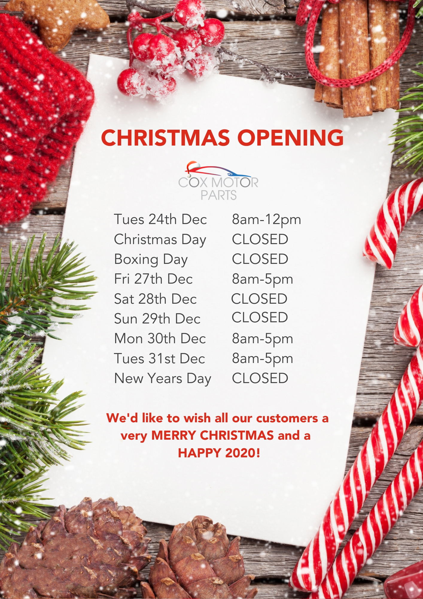 Christmas & New Year Delivery Information & Opening Times