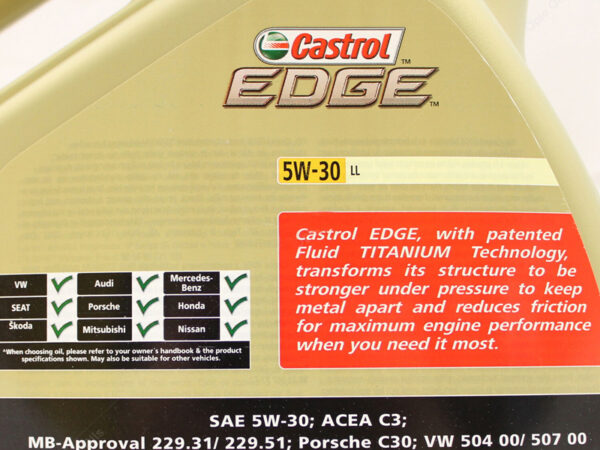Castrol Edge Longlife 5W30 LL Fully Synthetic Engine Oil 5 Litres 5L